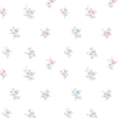 Papel De Parede Floral Prints 2 Flores Delicadas Rosa Azul Pr33843