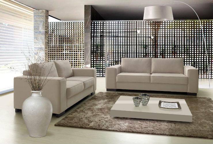 Sof toffagh living 2 lugares suede bege sala de estar for Sala de estar com um sofa