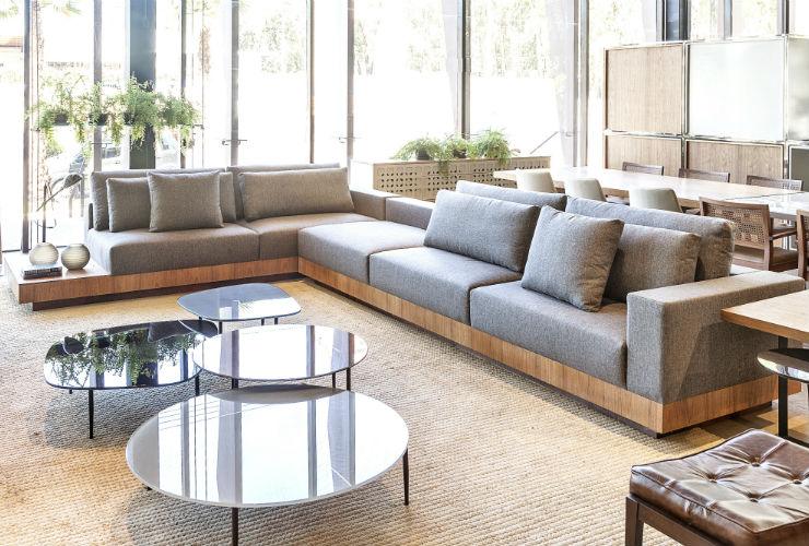 Sofá Em L Para Sala De Tv ~ Sofá em L Canto Lidlun Wood Linho Cinza Sala de Esta