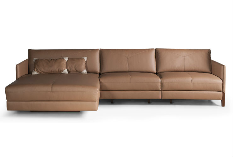 Sof tereg couro natural marrom chaise long 3 lugares fixo for Stock sofas madrid