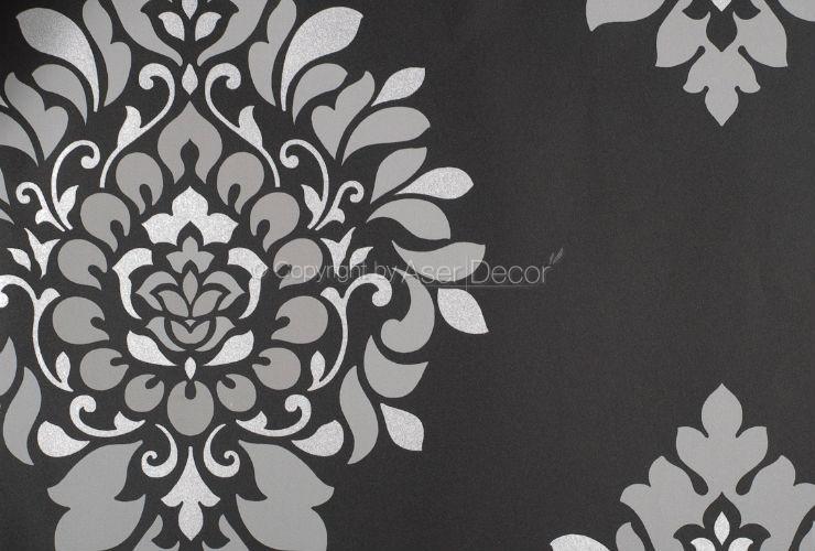 Papel de parede black white 2 arabesco preto bege bw28737 for Papel de pared negro