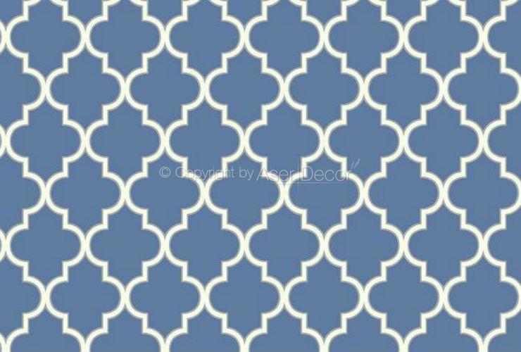Papel De Parede Waverly Cottage Geometrico Azul Branco Er8201