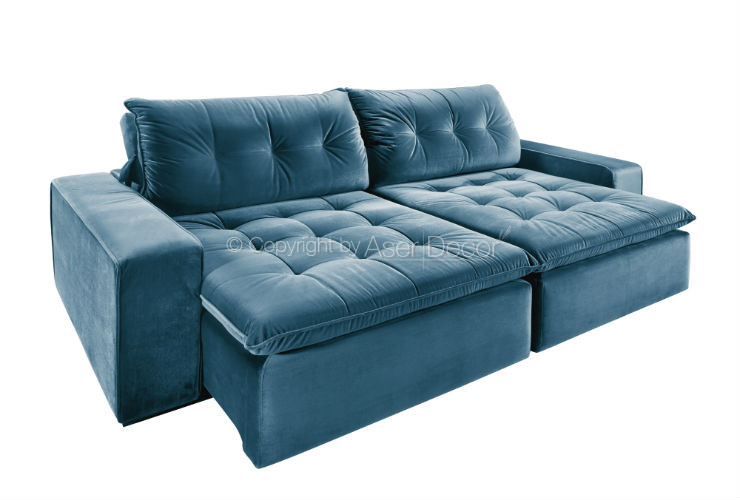 Sofa Retratil Reclinavel Merpe 3 Lugares Veludo Azul Sala Home