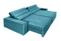Sofá Retrátil Reclinável Necci 3 Lugares Veludo Azul Sala Home
