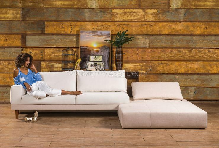 Sofa Abklib Luxo Chaise Long Linho Off White Sala