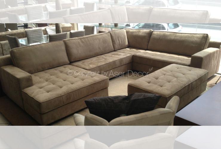 Sof bettiv canto em l camur a marrom sala de estar for Sala de estar com um sofa