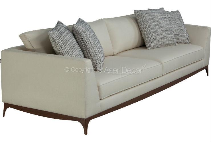 Sof anym living 3 lugares fixo veludo bege sala de estar for Sala de estar off white