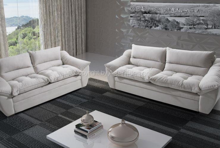 Sof sagvet living fixo linho off white sala de estar for Sala de estar off white