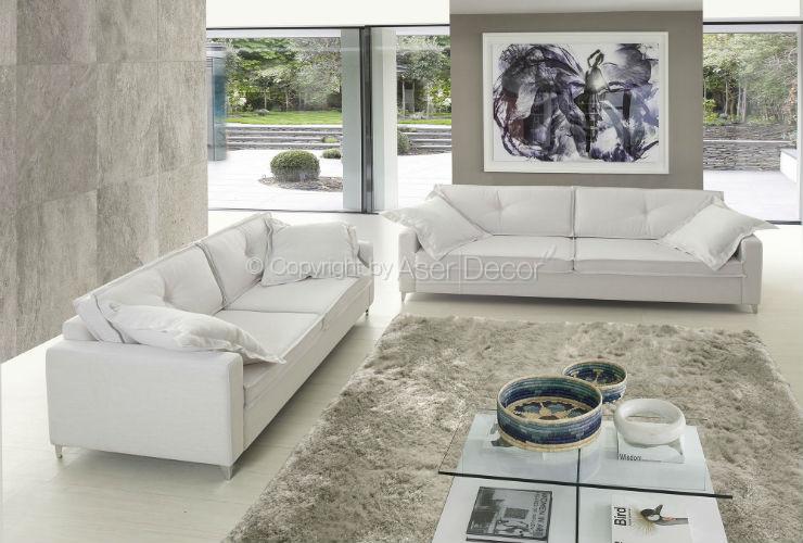 Sof radetter living 2 lugares linho bege sala de estar for Sala de estar off white