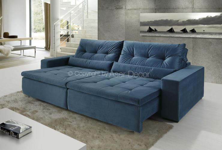 Super Sofá Tebsfalt Retrátil Reclinável Suede Azul 4 Lugares Sala Home RR69