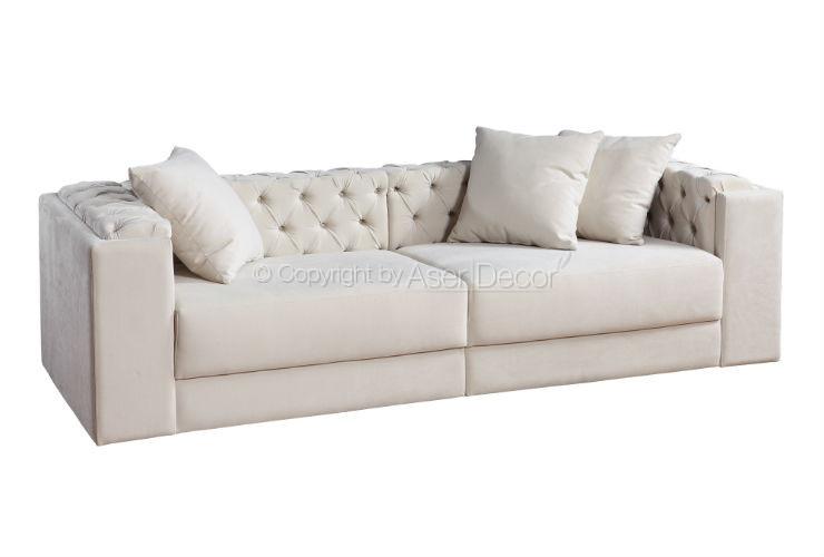 Sof living loxlor 3 lugares fixo veludo branco sala de for Sala de estar com um sofa