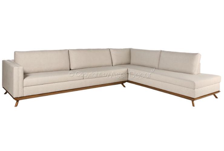 Sof em l canto cigalic linho cinza sala de estar for Sala de estar off white