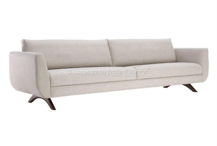Sof battegh living fixo couro ecol gico bege sala de estar for Sala de estar off white
