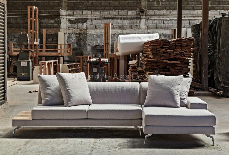 Sof chaise misraw 3 lugares fixo linho cinza sala de estar for Sala de estar com um sofa