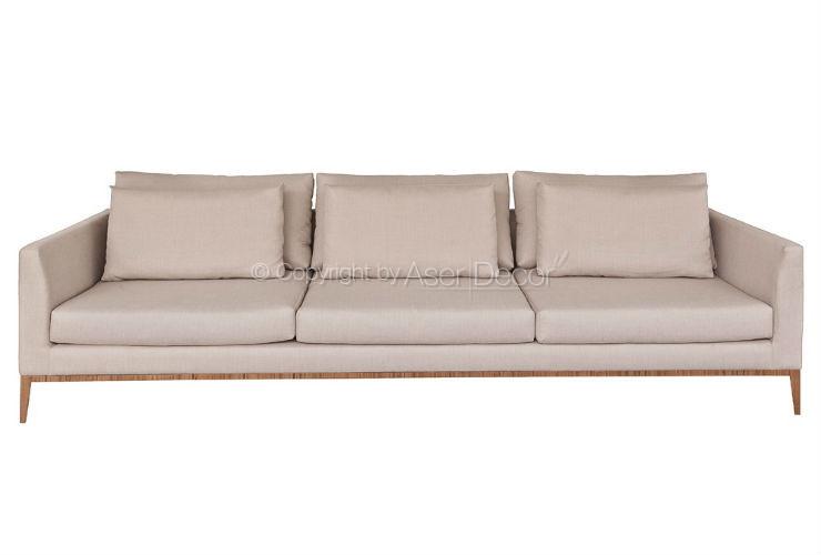 Sof living artopti 3 lugares fixo linho fendi sala de estar for Sala de estar com um sofa