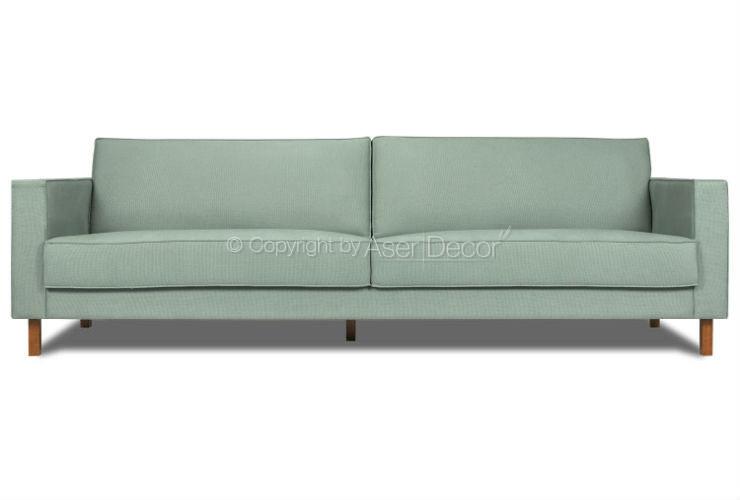 Sofa Living Nolan 3 Lugares Fixo Linho Verde Sala De Estar