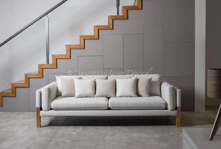 Sof living luppar 3 lugares fixo linho off white sala de for Sala de estar com um sofa