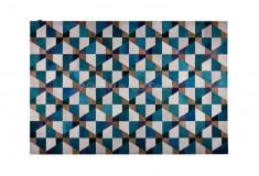Tapete Aurus Couro Azul Roxo Geométrico Sala Quarto