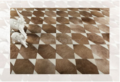 Tapete Bisset Couro Bege Branco Geométrico Sala Quarto