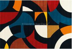 Tapete Nylon 10mm Azul Vermelho Geométrico Sala Quarto PDTOX