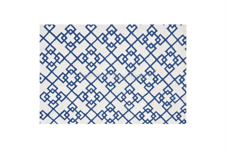 Tapete Droomby Geométroco Poliéster 10mm Azul Branco Sala Estar