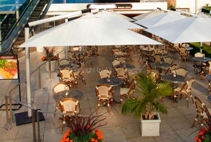Ombrelone AG46 Shademaker 3,6x3,6m Alumínio Branco Restaurantes