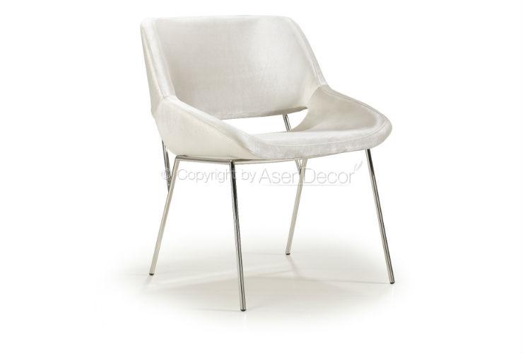 Cadeira Amkiarat Inox Design Veludo Off White Sala