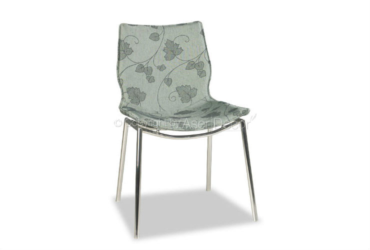 Cadeira Arjotre Estampada Design Suede Cinza Azul Sala