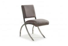 Cadeira Caiulun Inox Suede Marrom Design Sala