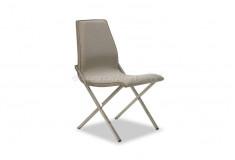 Cadeira Bizziz Inox Design Suede Marrom Sala Jantar