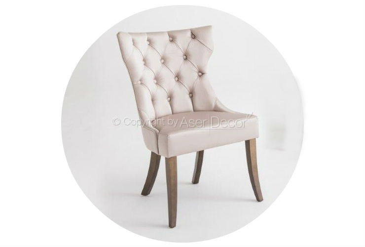 Cadeira Narccoun Capitonê Design Madeira Linho Bege Sala Jantar
