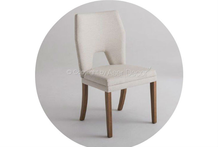 Cadeira Kaddarj Design Madeira Linho Bege Sala Jantar