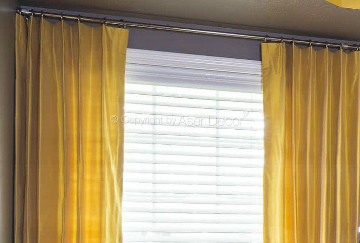 Cortina tecido amarela sala moderna luxo mexjik - Cortina moderna ...