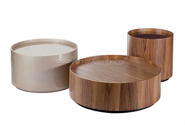Mesa de centro cussipt redonda madeira tripla sala - Mesas de centro redondas amazon ...