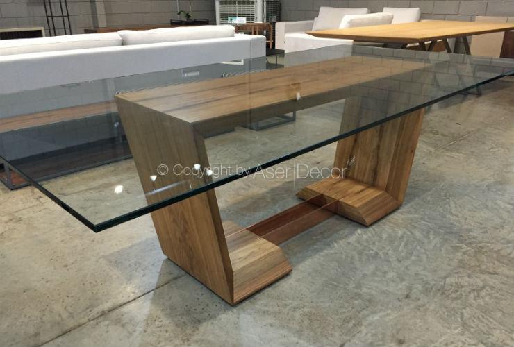 Mesa de jantar fiarrow design retangular madeira e vidro 8 for Bases de mesas cromadas
