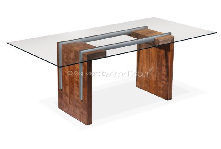 Mesa de jantar allosao base madeira inox luxo 6 lugares for Bases de mesas cromadas