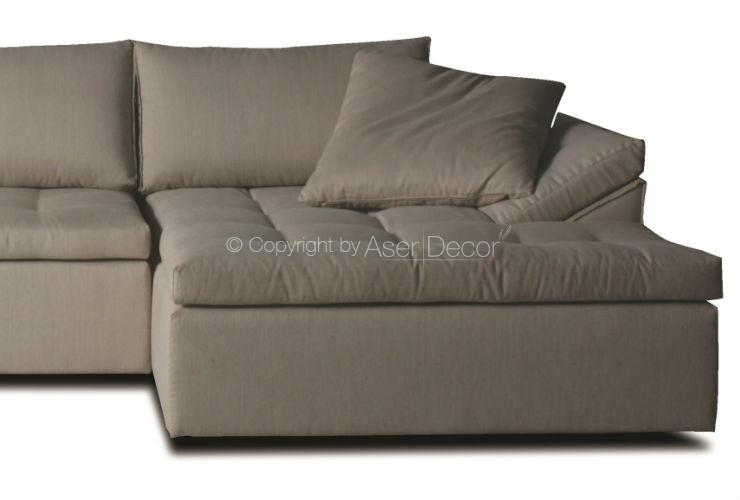Sof chaise fostv 3 lugares fixo veludo bege sala de estar for Sofa 03 lugares com chaise