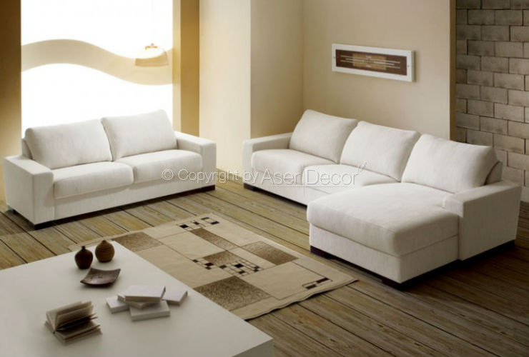 Sof chaise patozi 3 lugares fixo linho branco sala de estar for Sala de estar com um sofa