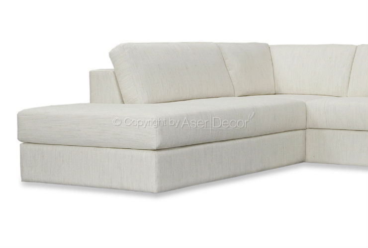 Sof roullic canto em l suede off white sala de estar for Sala de estar off white