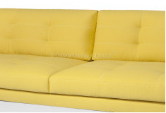Sofá Towin Living 3 Lugares Fixo Sarja Amarelo Sala de Estar Visita