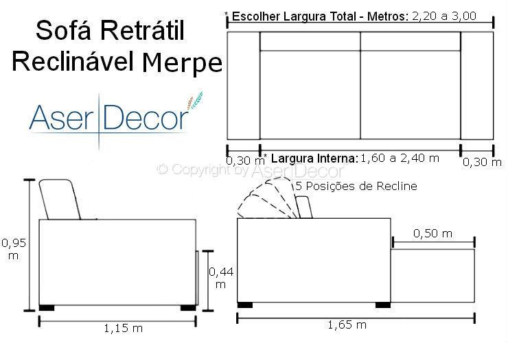 Sof retr til reclin vel merpe 3 lugares veludo azul sala home - Medidas de sofas 3 2 ...