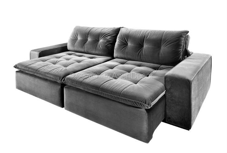 Sof retr til reclin vel merpe 3 lugares veludo cinza sala for Sofa 03 lugares retratil e reclinavel