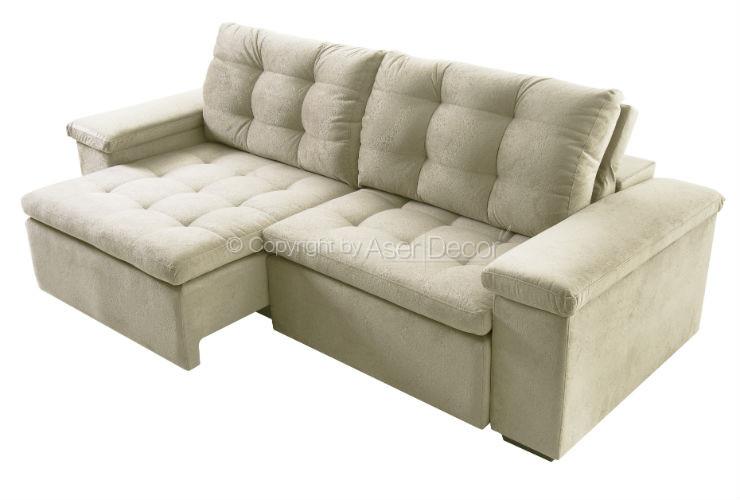 Sof retr til reclin vel pecip 3 lugares veludo creme sala for Sofa zeus retratil e reclinavel