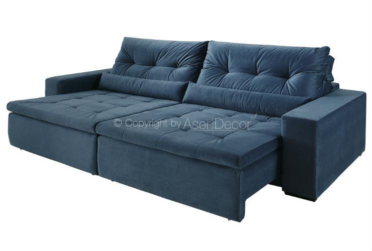 Sof tebsfalt retr til reclin vel suede azul 4 lugares for Sofa 4 lugares retratil