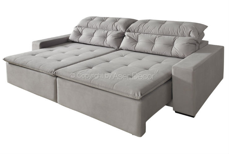 Sof zancion retr til reclin vel suede fendi 4 lugares for Sofa 4 lugares reclinavel e assento retratil