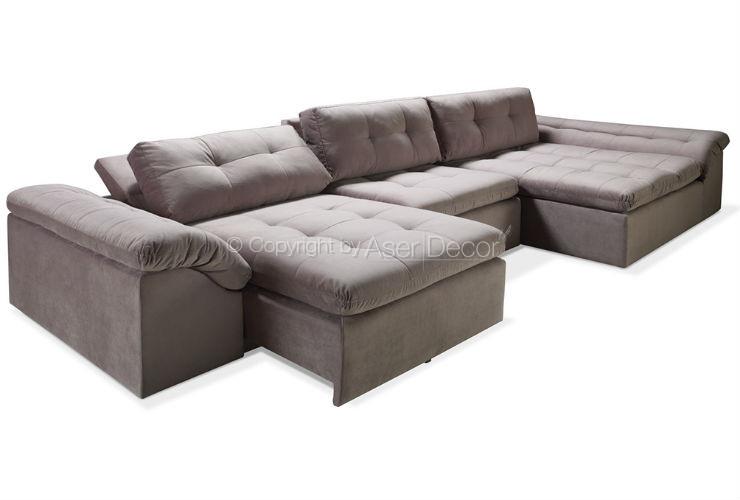 Sof rittost retr til reclin vel veludo marrom 3 lugares for Sofa para sala de tv