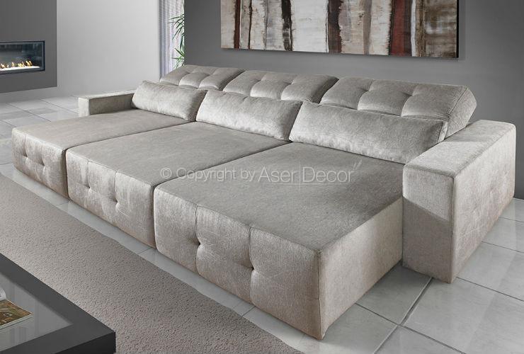 Sof xaminx retr til reclin vel veludo marrom 3 lugares for Sofa para sala de tv