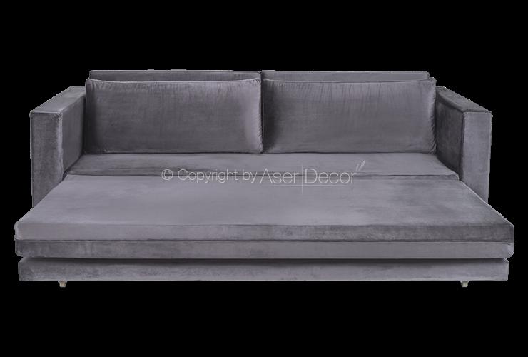 Sof cama cyrewi veludo cinza moderno quarto for Sofa cama modernos