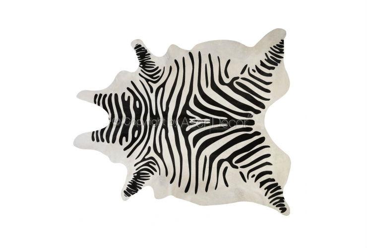Tapete zebra pele natural serigrafada branco preto sala quarto for Zebra tapete
