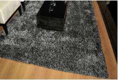 Tapete Besond Luxus Shaggy Mesclado 40mm Cinza Preto Sala Home